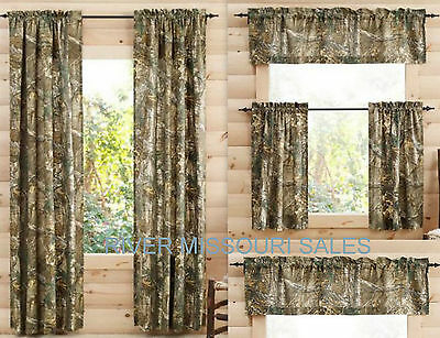 Inspiration about Realtree Xtra Camo Window Curtain Panels, Sets Of 2, White Intended For Tree Branch Valance And Tiers Sets (#28 of 45)