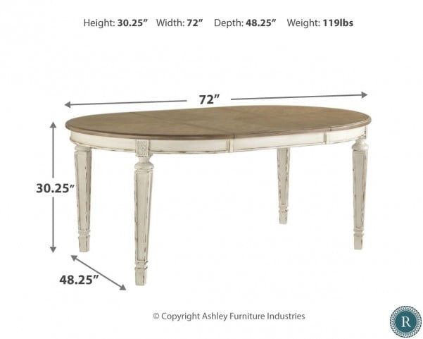 Realyn White Oval Extendable Dining Table Pertaining To Well Known Ingred Extending Dining Tables (View 3 of 20)
