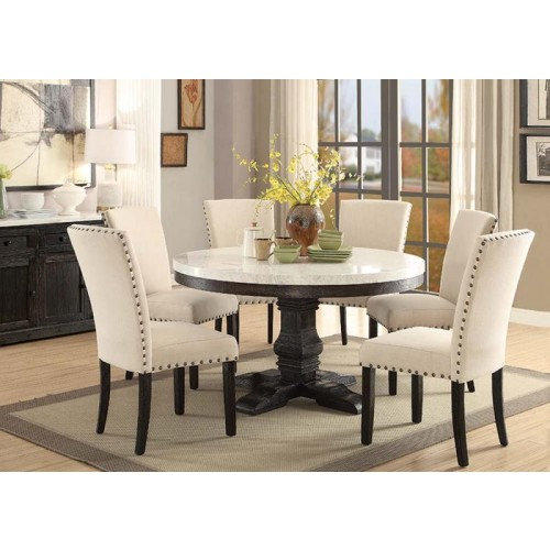 Recent Acme Nolan Round Dining Table In White Marble/weathered Regarding Nolan Round Pedestal Dining Tables (#23 of 30)