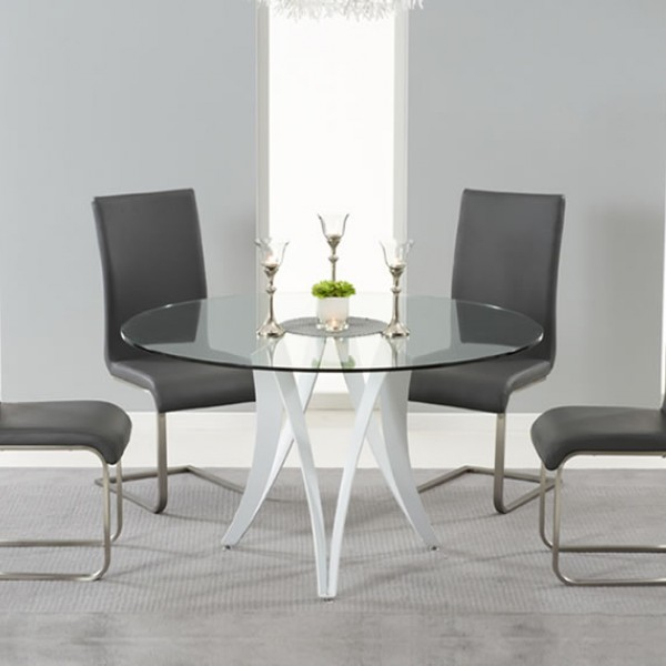 Recent Clyde Round Bar Tables In Clyde Round Glass Dining Table And Chairs (#16 of 20)