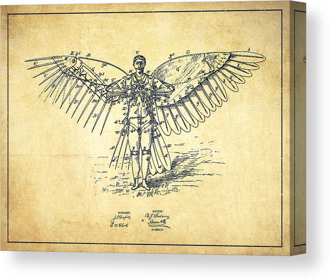 Recent Icarus Round Bar Tables With Regard To Icarus Flying Machine Patent Drawing Vintage Canvas Print (#17 of 20)