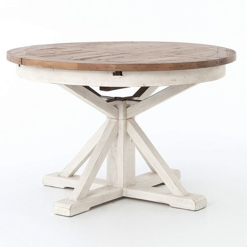 Inspiration about Recent Johnson Round Pedestal Dining Tables Throughout Cintra Reclaimed Wood White Expandable Round Dining Table 47 (#18 of 20)