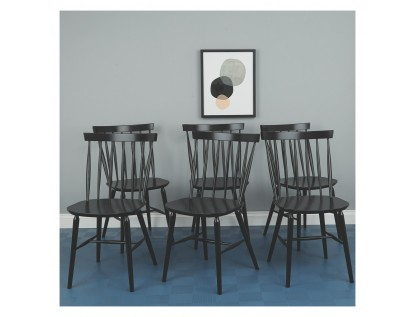 Inspiration about Recent Talia Set Of 6 Black Spindle Back Dining Chairs Regarding Thalia Dining Tables (#22 of 30)