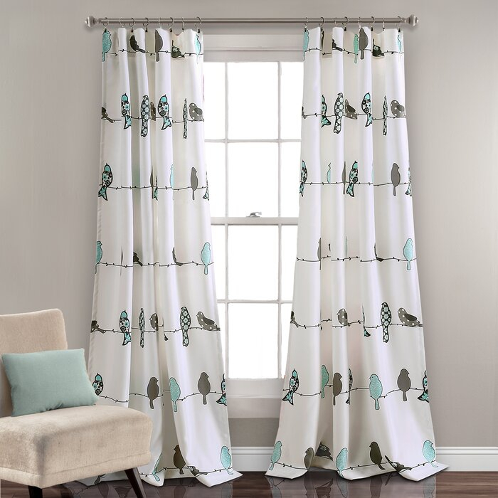 Recio Birds Room Darkening Thermal Rod Pocket Curtain Panels In Pastel Damask Printed Room Darkening Kitchen Tiers (#36 of 50)