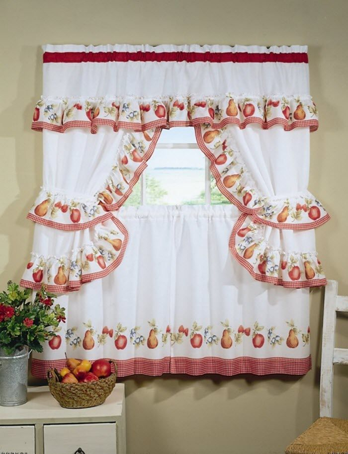 Red And White Kitchen Curtains   Different Curtain Design Intended For Embroidered Floral 5 Piece Kitchen Curtain Sets (View 22 of 30)