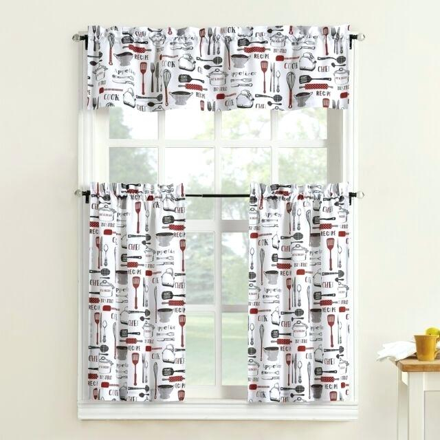 Inspiration about Red And White Kitchen Curtains – Whenitrains.co For Classic Black And White Curtain Tiers (#45 of 50)