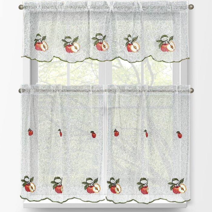 Red Apples 3 Piece Embroidered Kitchen Tier And Valance Set Throughout Delicious Apples Kitchen Curtain Tier And Valance Sets (View 11 of 30)