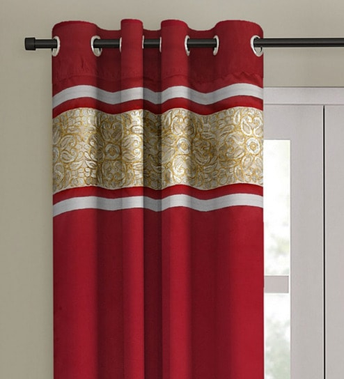 Inspiration about Red Blackout Satin 7 Feet Eyelet Door Curtaineyda Intended For Embroidered 'coffee Cup' 5 Piece Kitchen Curtain Sets (#28 of 30)