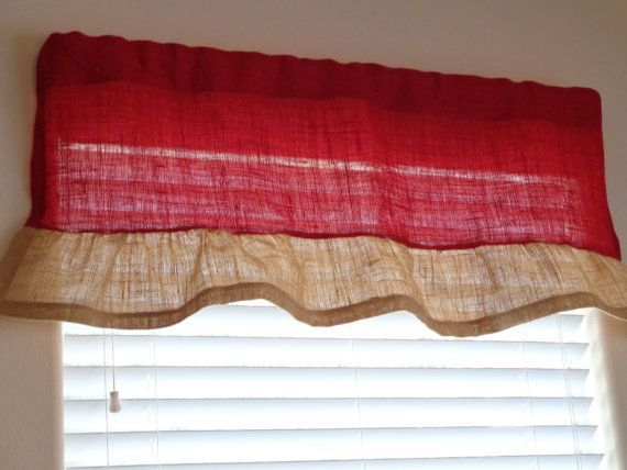 Red Burlap With A Natural Burlap Handmade Ruffle Valance, 17 Inside Bermuda Ruffle Kitchen Curtain Tier Sets (View 36 of 50)
