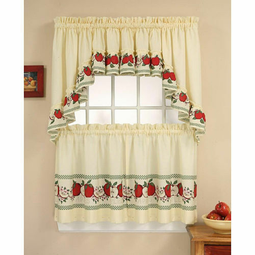 Red Delicious Tailored Tier And Swag Curtain Panel Set | Ebay Pertaining To Cotton Blend Ivy Floral Tier Curtain And Swag Sets (View 29 of 30)