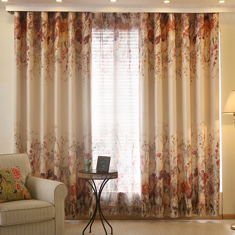 Red Floral Print Linen/cotton Blend Beautiful Window Curtains For Cotton Blend Classic Checkered Decorative Window Curtains (View 22 of 30)