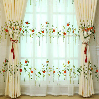 Red Ladybird Designs Green Leaf Embroidery On White Lace Sheer Curtain Boy  Play | Ebay With Regard To Embroidered Ladybugs Window Curtain Pieces (View 30 of 50)