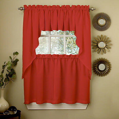 Red Opaque Solid Ribcord Kitchen Curtains Choice Of Tier Pertaining To Embroidered Ladybugs Window Curtain Pieces (View 31 of 50)