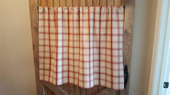 Red Plaid Kitchen Cafe Curtains/ Country Curtains/ Kitchen With Regard To Grace Cinnabar 5 Piece Curtain Tier And Swag Sets (View 8 of 30)