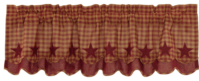 Inspiration about Red Primitive Kitchen Curtains Cody Burgundy Star Valance Rod Pocket Cotton  Star Throughout Red Primitive Kitchen Curtains (#21 of 30)