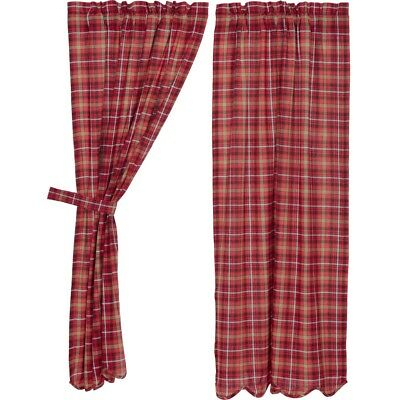 Red Rustic & Lodge Curtains Harvey Cabin Panel Pair Rod Pocket Cotton Plaid  | Ebay Pertaining To Cumberland Tier Pair Rod Pocket Cotton Buffalo Check Kitchen Curtains (View 28 of 30)