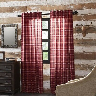 Inspiration about Red Rustic & Lodge Curtains Harvey Cabin Panel Pair Rod Pocket Cotton Plaid  | Ebay Throughout Cumberland Tier Pair Rod Pocket Cotton Buffalo Check Kitchen Curtains (#20 of 30)