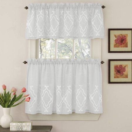 Inspiration about Reef Marine Knitted Lace Kitchen Curtains 24 Inch, 36 Inch Inside White Knit Lace Bird Motif Window Curtain Tiers (#49 of 50)