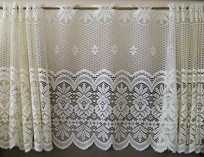 Reef Marine White Knit Lace Kitchen Curtains Choice Of Tier In Marine Life Motif Knitted Lace Window Curtain Pieces (#38 of 48)