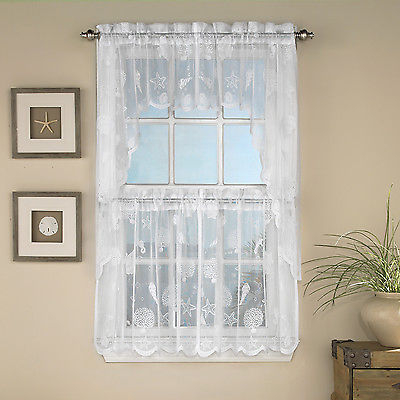 Reef Marine White Knit Lace Kitchen Curtains Choice Of Tier, Valance Or  Swag | Ebay In White Knit Lace Bird Motif Window Curtain Tiers (View 37 of 50)