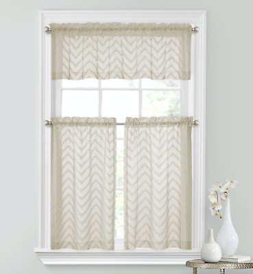 Inspiration about Regal Home Collections 3 Pc Complete Matte Sheer Chevron Kitchen Curtain  Set | Ebay With Floral Watercolor Semi Sheer Rod Pocket Kitchen Curtain Valance And Tiers Sets (#43 of 50)