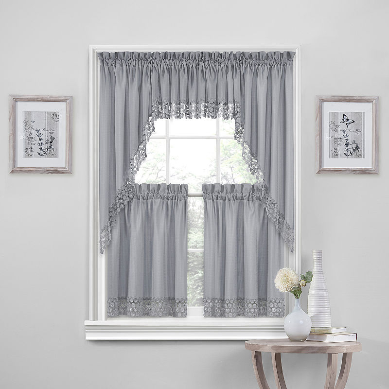 Regent Rod Pocket Window Tiers | Products In 2019 | Rod Inside Imperial Flower Jacquard Tier And Valance Kitchen Curtain Sets (#34 of 46)