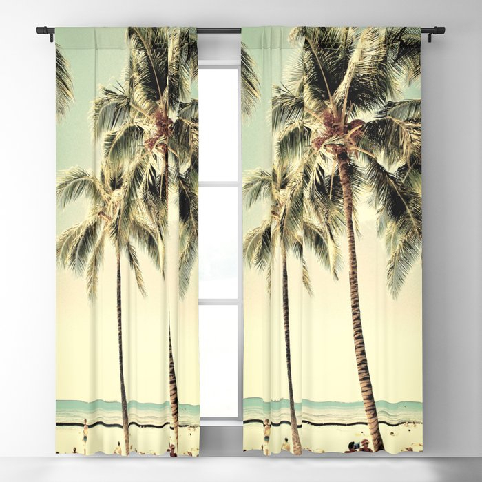 Inspiration about Retro Vintage Palm Tree With Hawaii Summer Sea Beach Blackout Curtain Lifeisbeautiful Throughout Vintage Sea Shore All Over Printed Window Curtains (#4 of 47)
