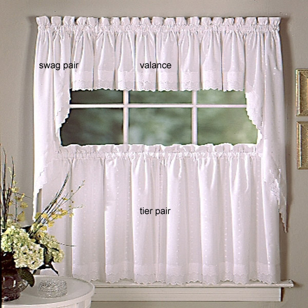 Inspiration about Ribbon Eyelet Curtains Regarding Tailored Valance And Tier Curtains (#41 of 50)
