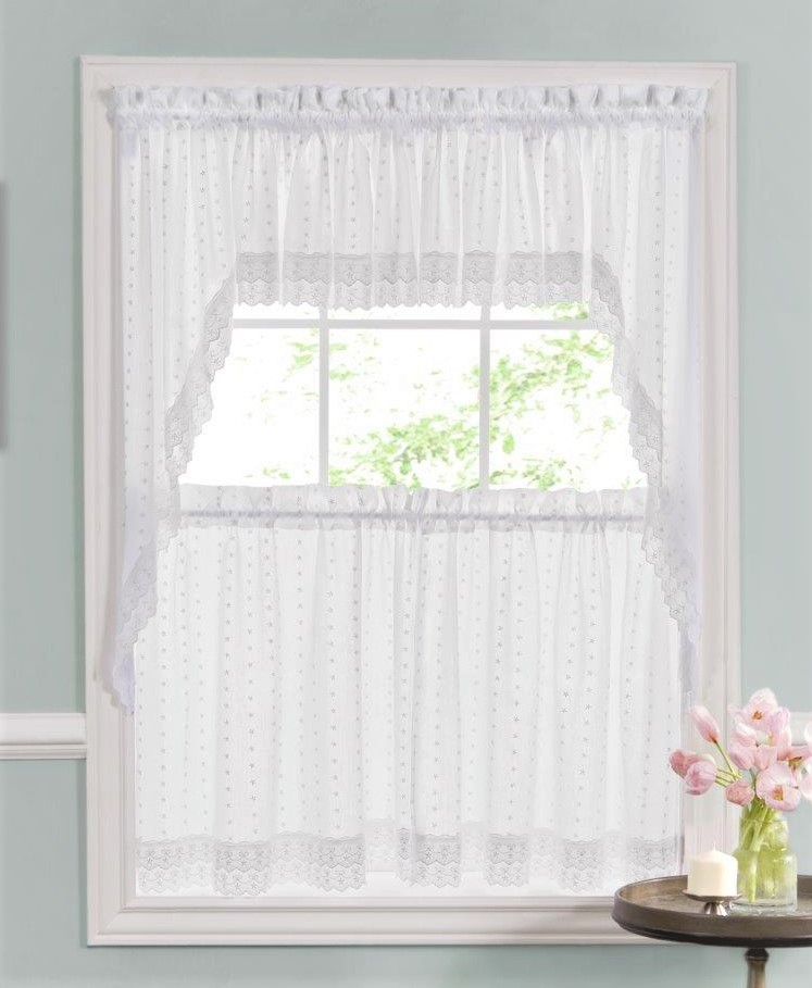 Ribbon Eyelet Embroidered Kitchen Curtain – White Intended For Semi Sheer Rod Pocket Kitchen Curtain Valance And Tiers Sets (View 26 of 30)