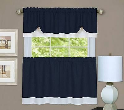 Rich Navy Textured Dual Layer 3 Piece Tiers & Window Valance Curtain Set,modern | Ebay With Regard To Scroll Leaf 3 Piece Curtain Tier And Valance Sets (View 31 of 50)