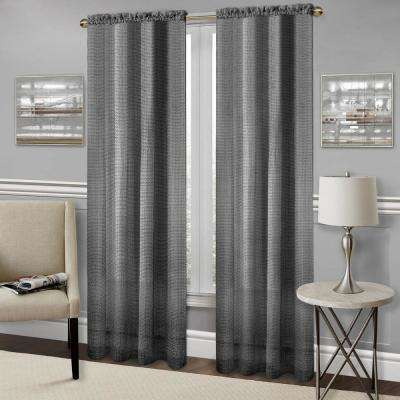 Inspiration about Richmond Black Polyester Rod Pocket Curtain – 52 In. W X 63 In. L Regarding Top Of The Morning Printed Tailored Cottage Curtain Tier Sets (#43 of 50)
