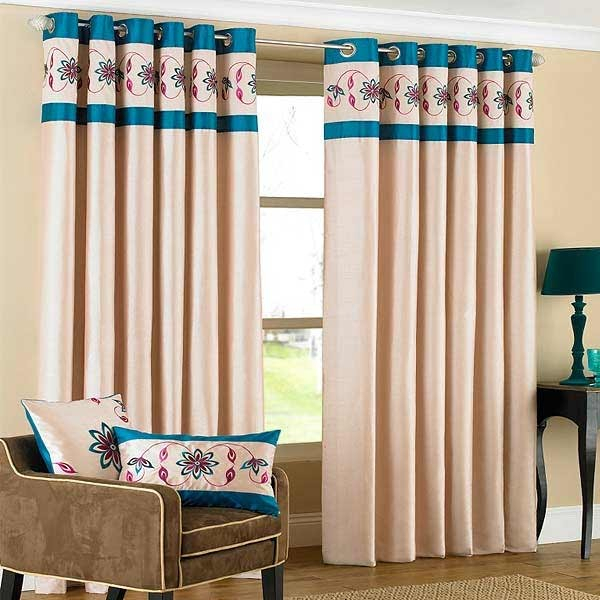 Riva Home Petra Floral Embroidered Faux Silk Eyelet Curtains Inside Floral Embroidered Faux Silk Kitchen Tiers (View 44 of 50)