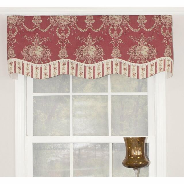 "Rlf Home Cameo Toile Glory 50"" Window Valance – Red Red, Cream, Off White  Horizo With Regard To Aviary Window Curtains (View 28 of 30)"