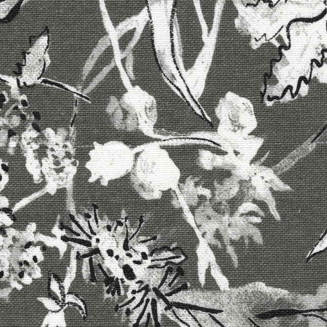 Inspiration about Rod Pocket Curtain Panels Pair Garden Party Ink Floral Gray Cotton Linen Intended For Floral Blossom Ink Painting Thermal Room Darkening Kitchen Tier Pairs (#5 of 49)