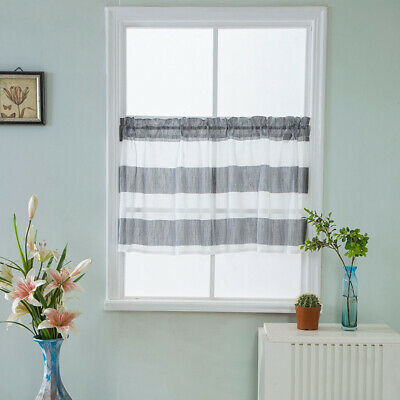 Rod Pocket Half Curtain Striped Window Valance Sheer Voile In Linen Stripe Rod Pocket Sheer Kitchen Tier Sets (#34 of 46)