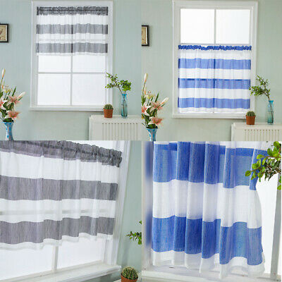Rod Pocket Half Curtain Striped Window Valance Sheer Voile Pertaining To Linen Stripe Rod Pocket Sheer Kitchen Tier Sets (#35 of 46)