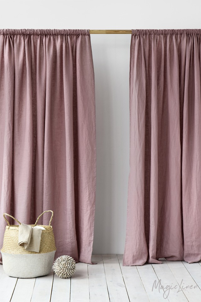 Rod Pocket Linen Curtains | Magiclinen With Regard To Linen Stripe Rod Pocket Sheer Kitchen Tier Sets (#36 of 46)
