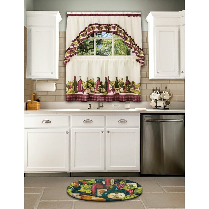 Rodrick 3 Piece Chardonnay – Printed Tier And Swag Window Curtain Set Throughout Chardonnay Tier And Swag Kitchen Curtain Sets (View 16 of 50)