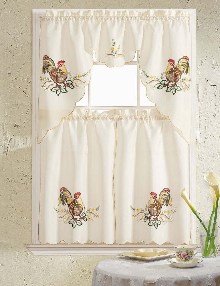 Inspiration about Rooster Embroidered 3 Piece Kitchen Curtain Swag & Tiers Set, Beige, 60X56  & 30X36 Regarding Chocolate 5 Piece Curtain Tier And Swag Sets (#20 of 30)