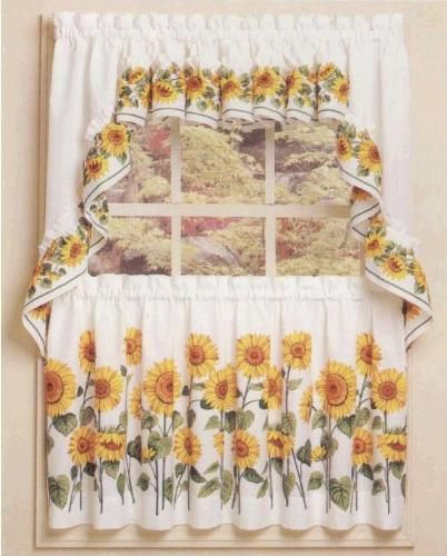 Inspiration about Rooster Kitchen Curtains | Curtain Ideas For Tuscan Design Throughout Traditional Tailored Window Curtains With Embroidered Yellow Sunflowers (#24 of 30)