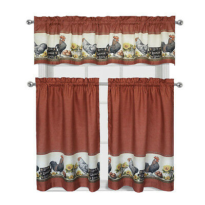 "Inspiration about Roosters & Sunflowers Live~Laugh~Love"" Complete 3 Pc.kitchen Regarding Sunflower Cottage Kitchen Curtain Tier And Valance Sets (#39 of 50)"