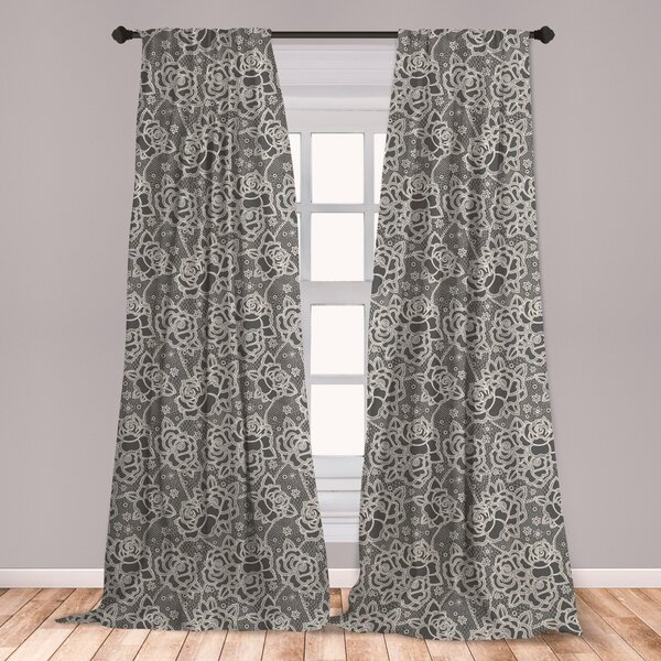 Inspiration about Rose Lace Curtains | Wayfair Regarding Marine Life Motif Knitted Lace Window Curtain Pieces (#7 of 48)