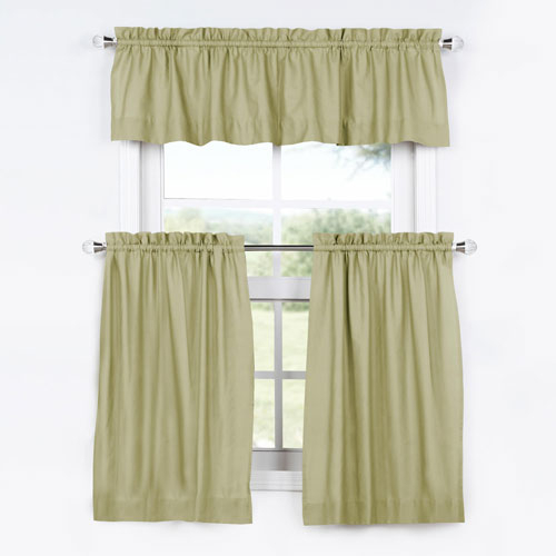 Inspiration about Rose Street Lake Moss 24 X 29 In. Solid Cotton Kitchen Tier Curtain And  Valance Set In Chardonnay Tier And Swag Kitchen Curtain Sets (#37 of 50)