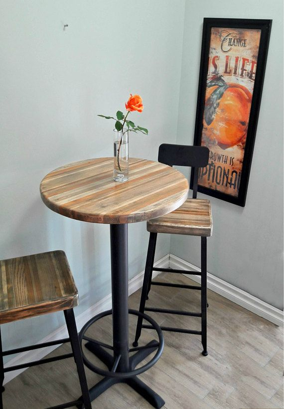 Round Bar Height Pub Table – Reclaimed Wood Top, Pedestal With Regard To Well Liked Griffin Reclaimed Wood Bar Height Tables (#27 of 30)