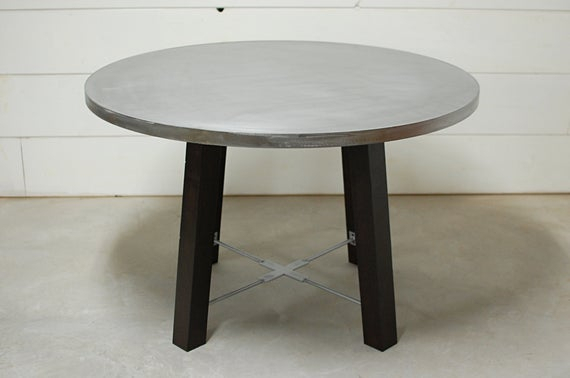 Inspiration about Round Dining Table, Round Zinc Dining Table, Industrial Dining Table, Zinc  Table Top, Kitchen Table, Industrial Furniture, Zinc, Industrial Within Popular Chapman Marble Oval Dining Tables (#26 of 30)
