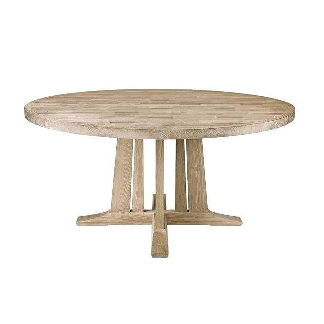 Round Dining Table With Pedestal – Doglar With Trendy Gray Wash Banks Pedestal Extending Dining Tables (#19 of 20)