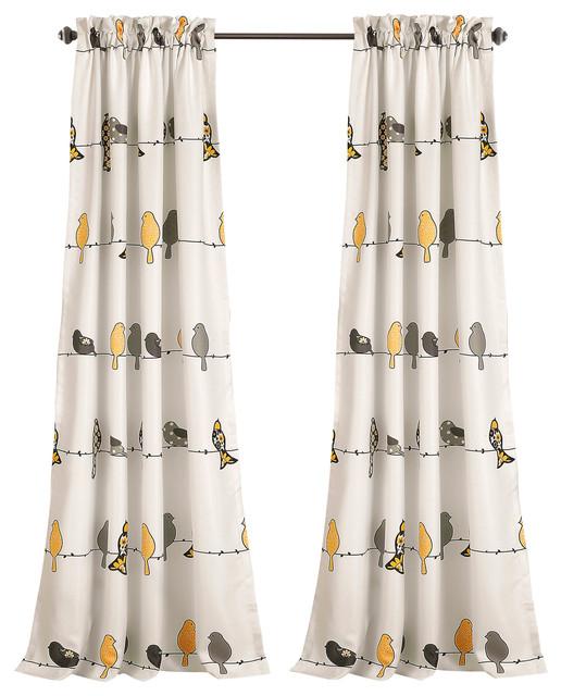 Rowley Birds Room Darkening, Yellow/gray, Pair In Rowley Birds Valances (View 32 of 50)