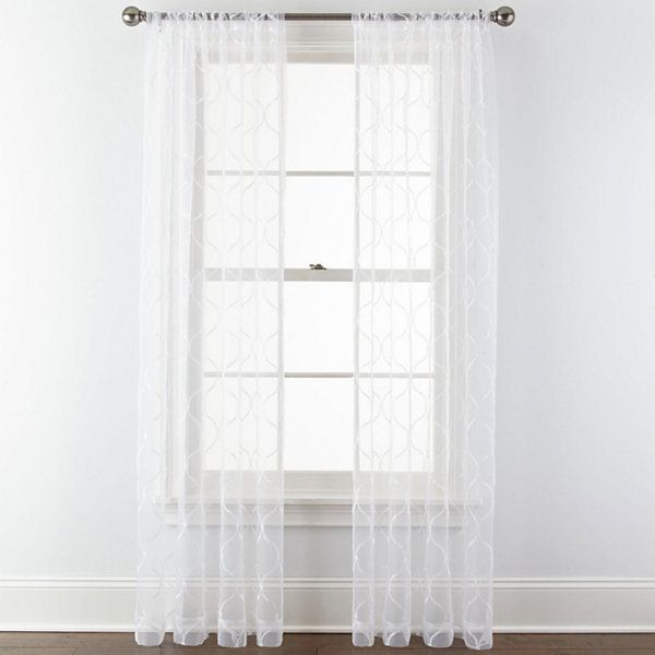 Royal Velvet® Geneva Embroidered Rod Pocket Sheer Curtain Inside Marine Life Motif Knitted Lace Window Curtain Pieces (#43 of 48)
