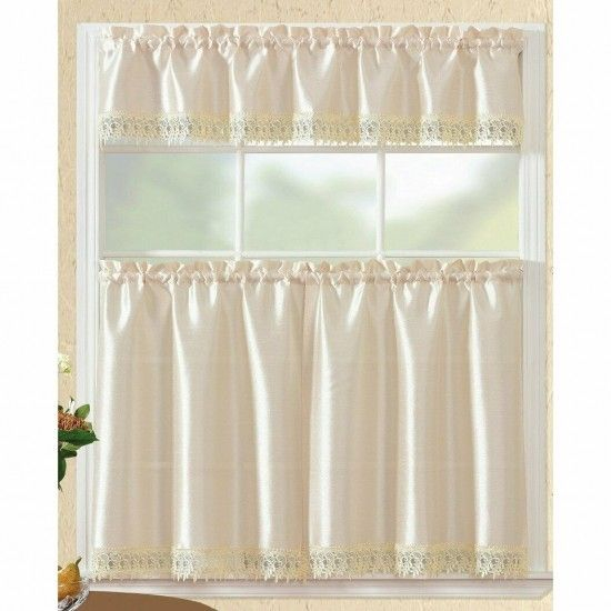 Inspiration about Rt Designers Brazil Macrame Border Tier And Valance Kitchen With Regard To Traditional Two Piece Tailored Tier And Valance Window Curtains (#15 of 50)