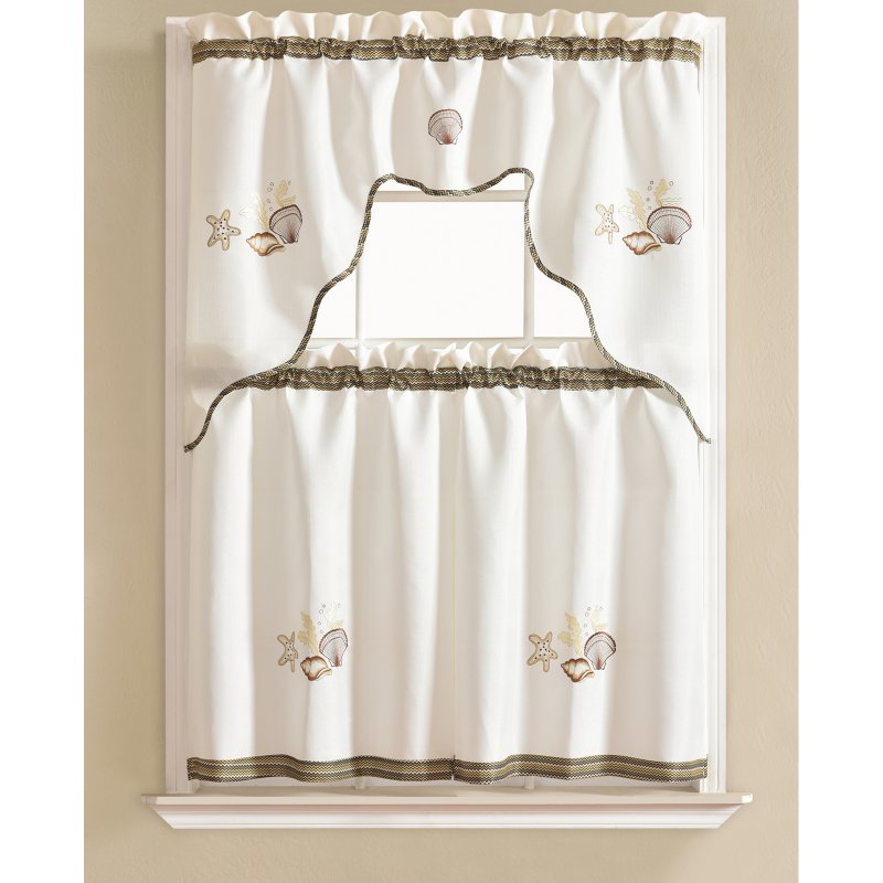 Inspiration about Rt Designers Collection Grand Shell Embroidered Kitchen Throughout Tree Branch Valance And Tiers Sets (#20 of 45)